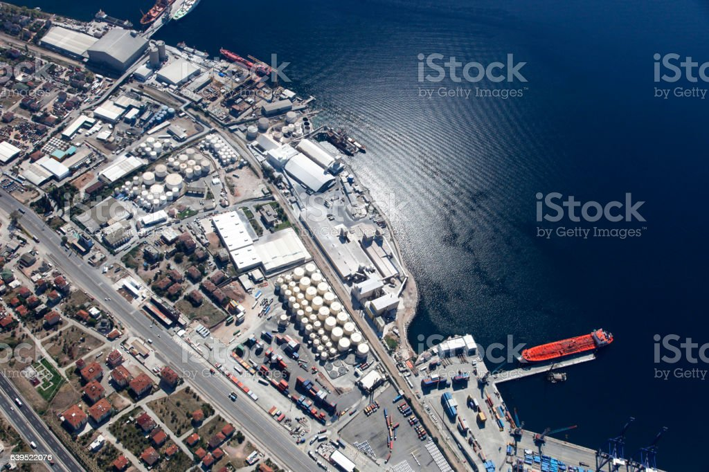 Aerial view of an industrial port stock photo