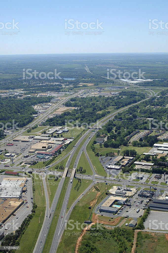 Aerial view of an interstate highway passing through Tuscaloosa royalty-free stock photo