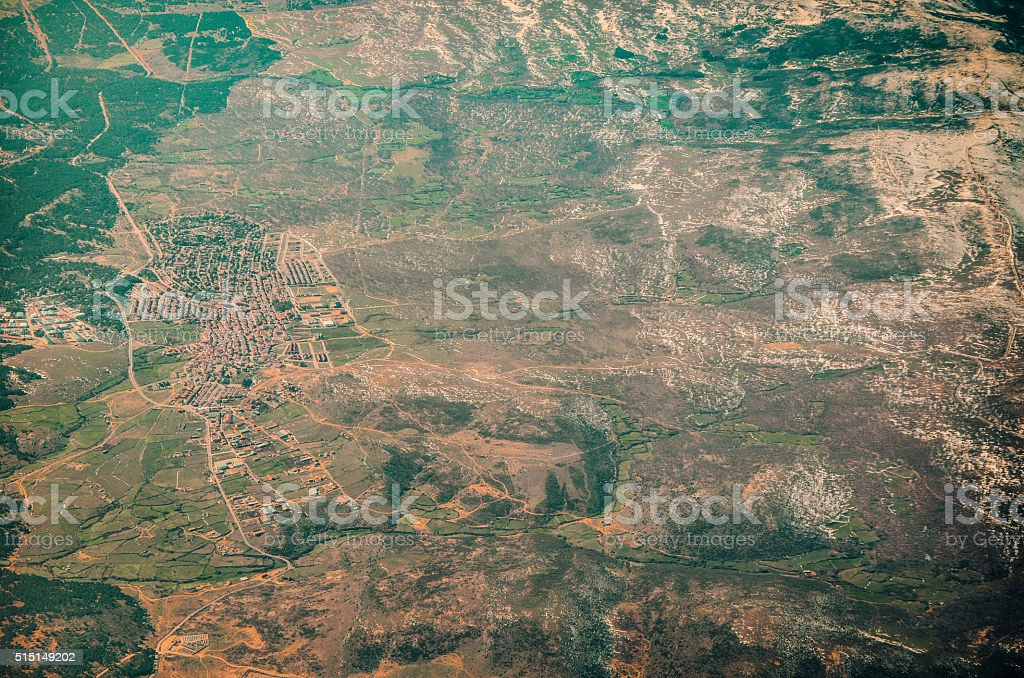 Aerial view of an isolated residential area in winter stock photo