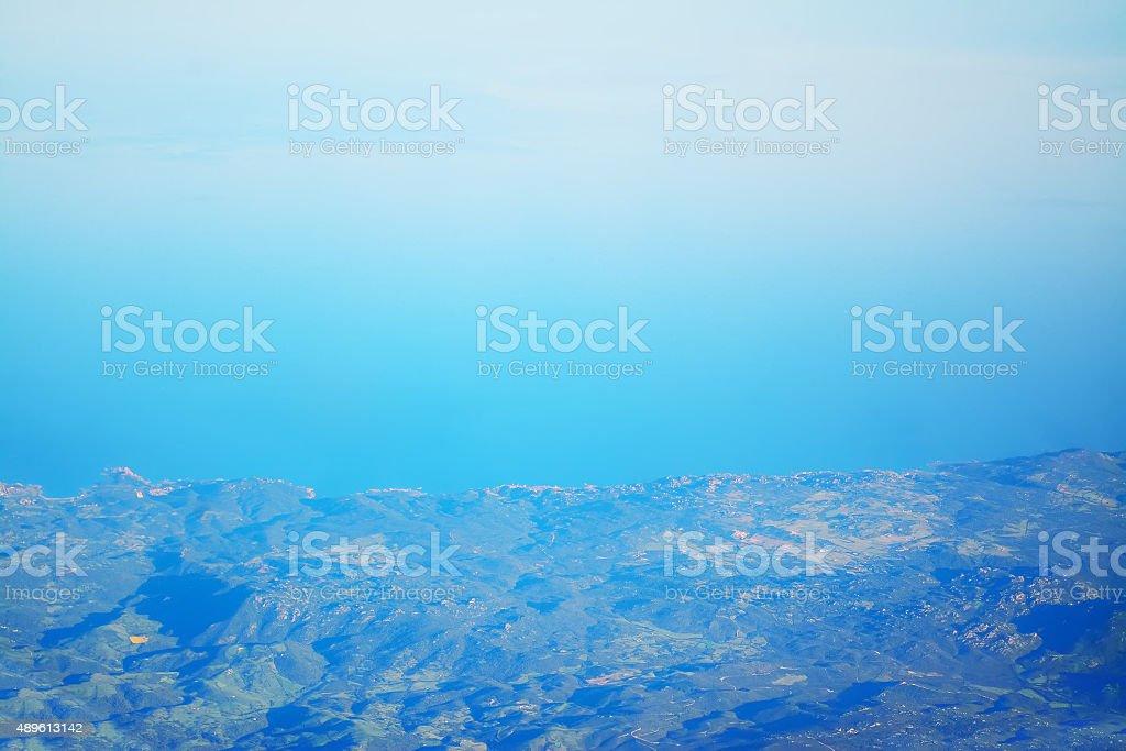 aerial view of an Italian coast stock photo