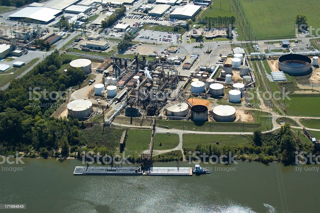 Aerial view of an Oil Refinery royalty-free stock photo