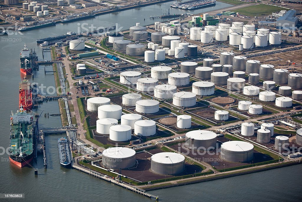 Aerial view of an oil terminal in a harbor stock photo