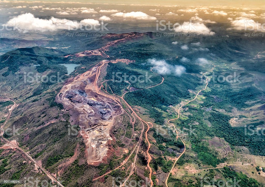 Aerial view of an open Iron mine stock photo