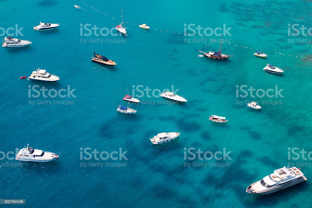 aerial view of anchored yachts stock photo