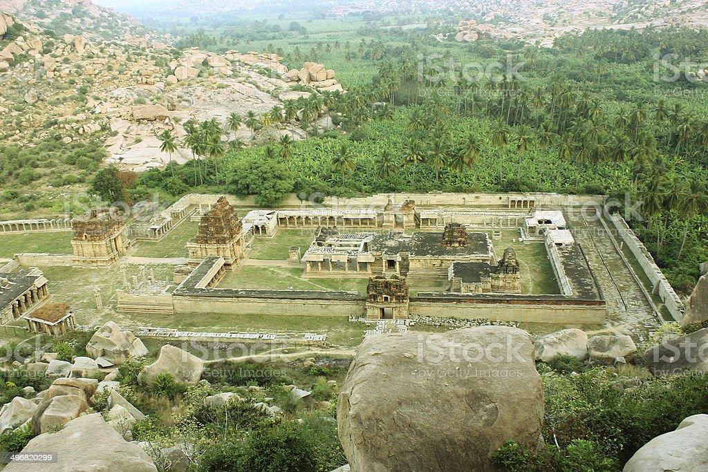 Aerial view of ancient Achyutaraya temple stock photo