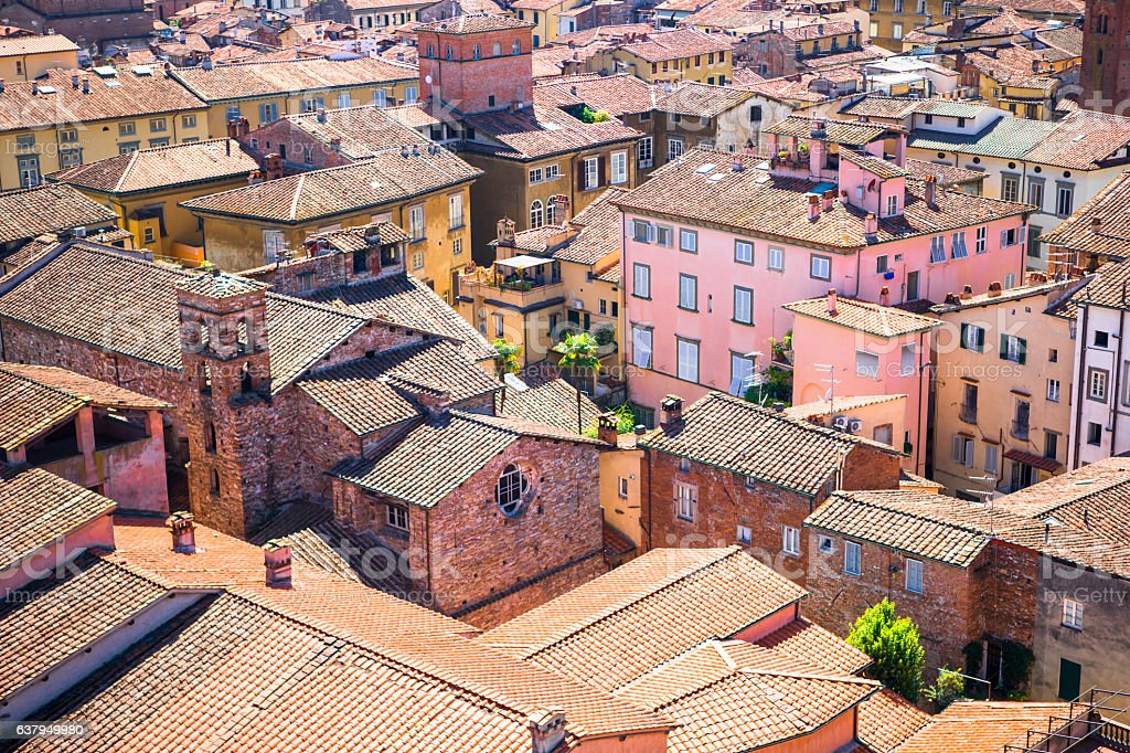 Aerial view of ancient building with red roofs in Lucca, stock photo