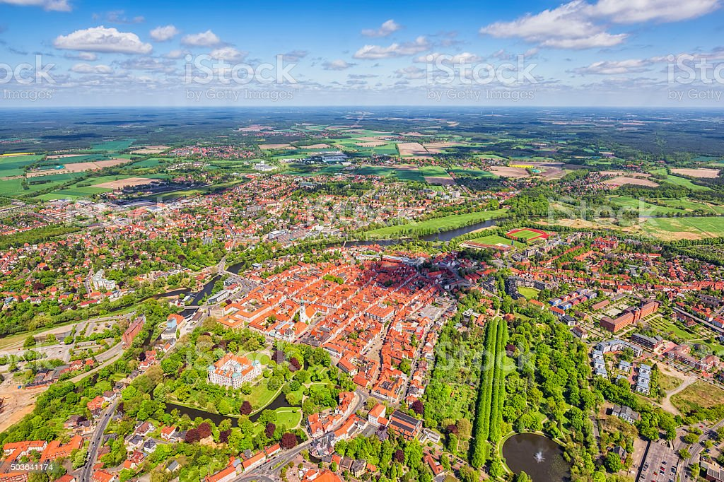 Aerial View of ancient downtown district Celle , Lower Saxony stock photo