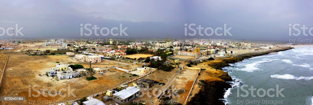 Aerial view of ancient Dwarka City stock photo