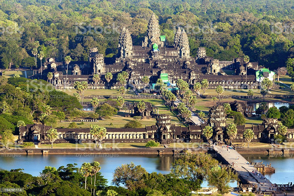 Aerial view of Angkor Wat stock photo