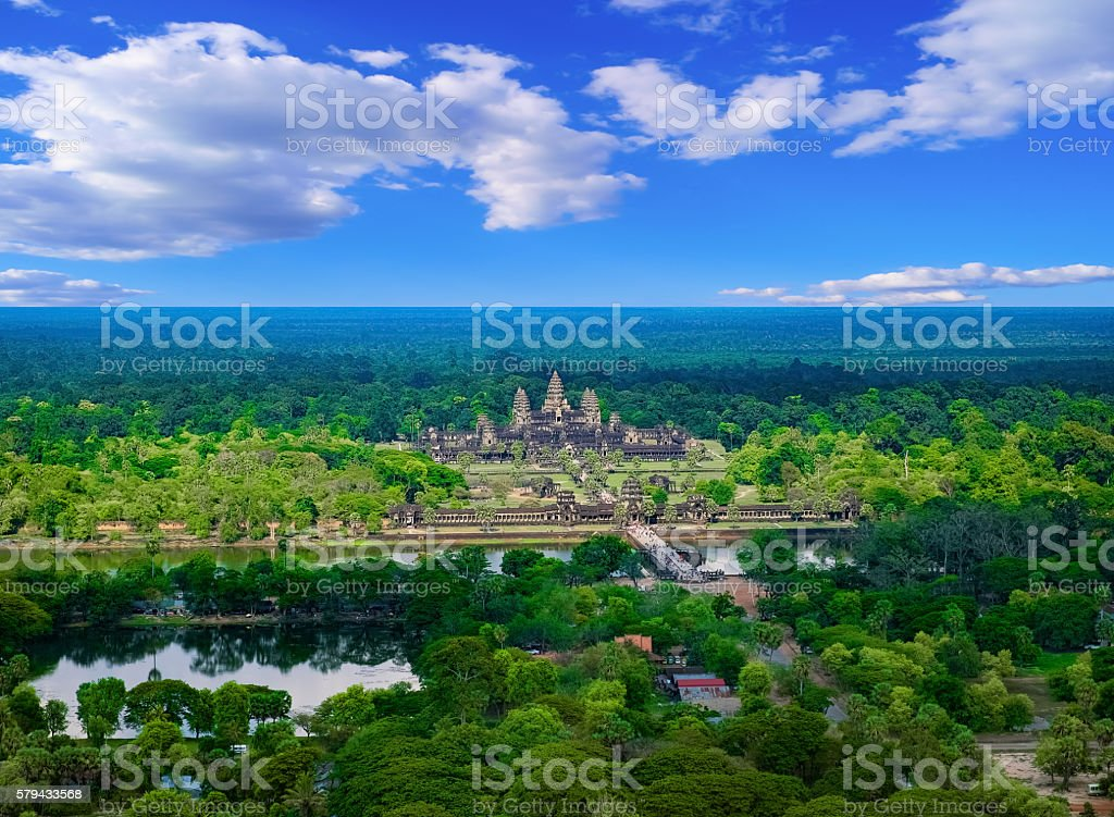 Aerial view of Angkor Wat Temple, Cambodia stock photo