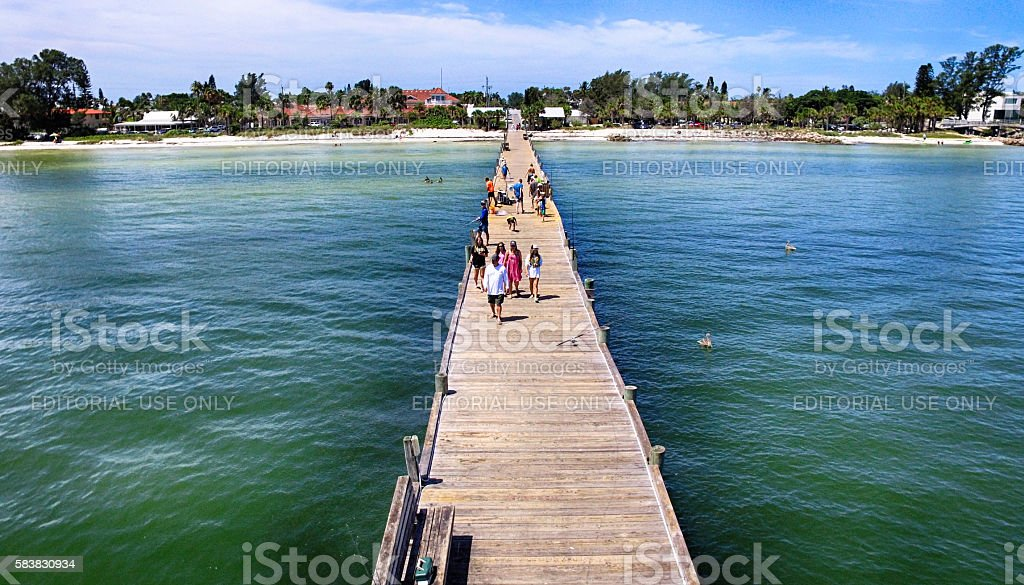 Aerial view of Anna Maria Island City Pier, Bradenton, FL stock photo