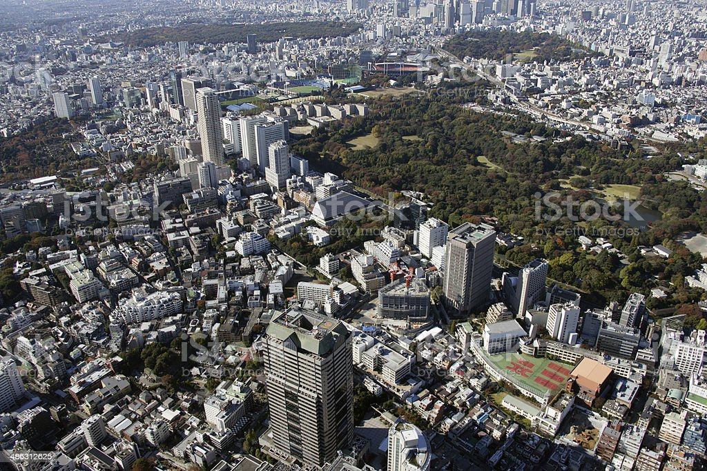 Aerial view of Aoyama areas stock photo