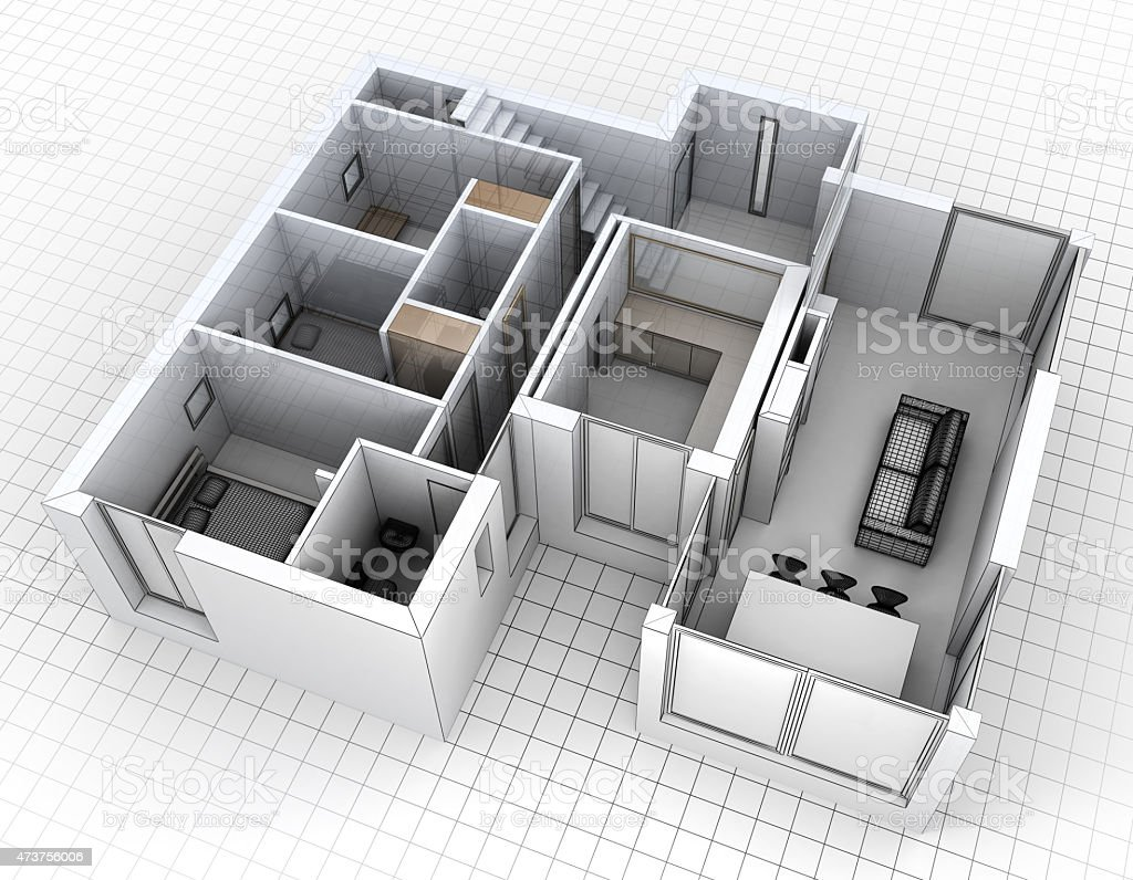 Aerial view of apartment rendering stock photo