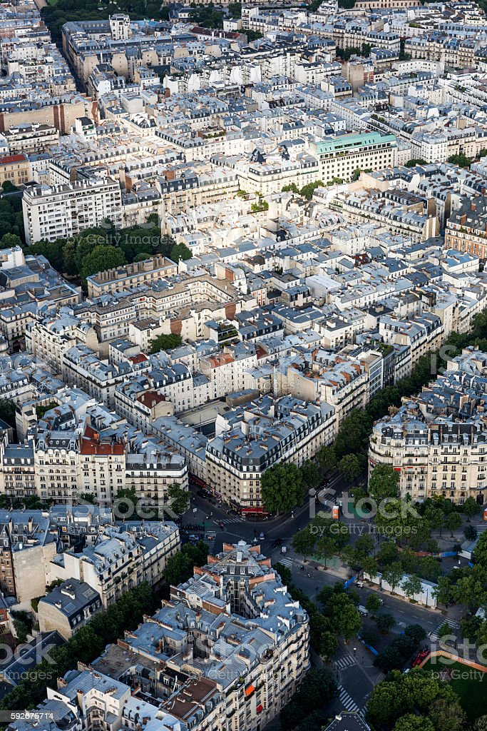 Aerial view of apartments from Eiffel Tower in Paris stock photo