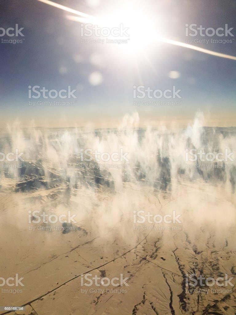 Aerial view of Arabic desert stock photo