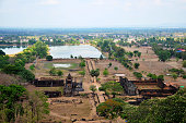 Aerial view of archaeological site Wat Phu or Vat Phou