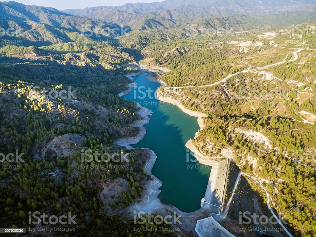 Aerial view of Arminou reservoir, Pafos, Cyprus stock photo