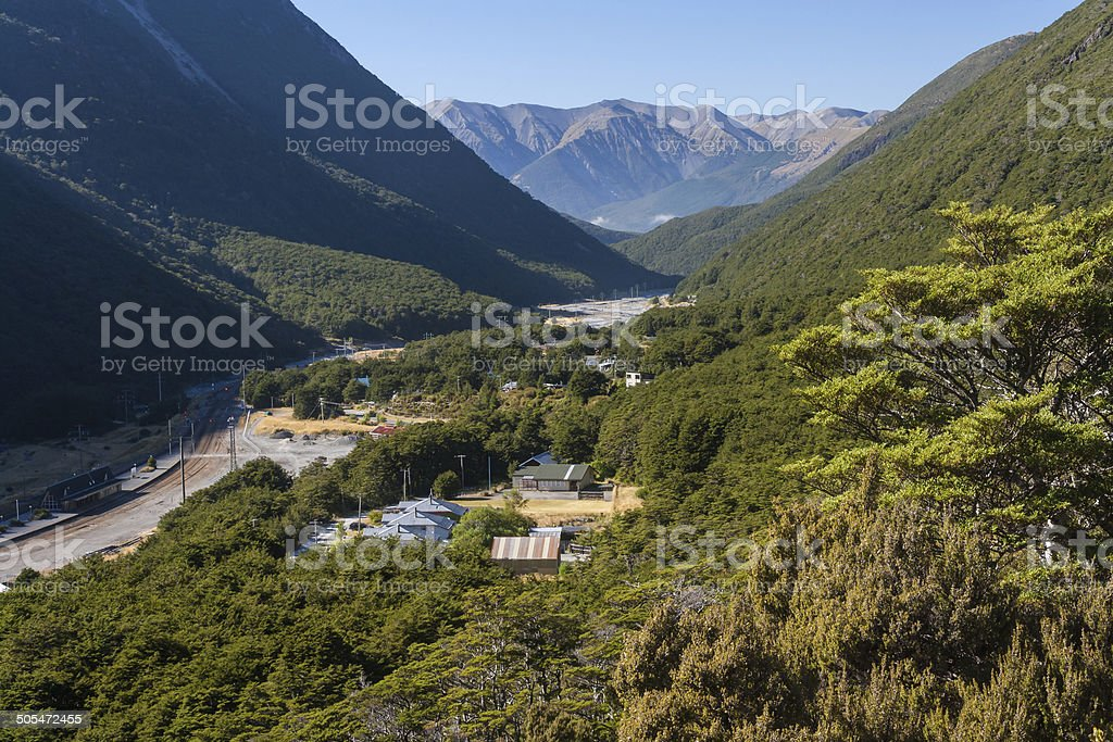 aerial view of Arthur's Pass village in New Zealand stock photo