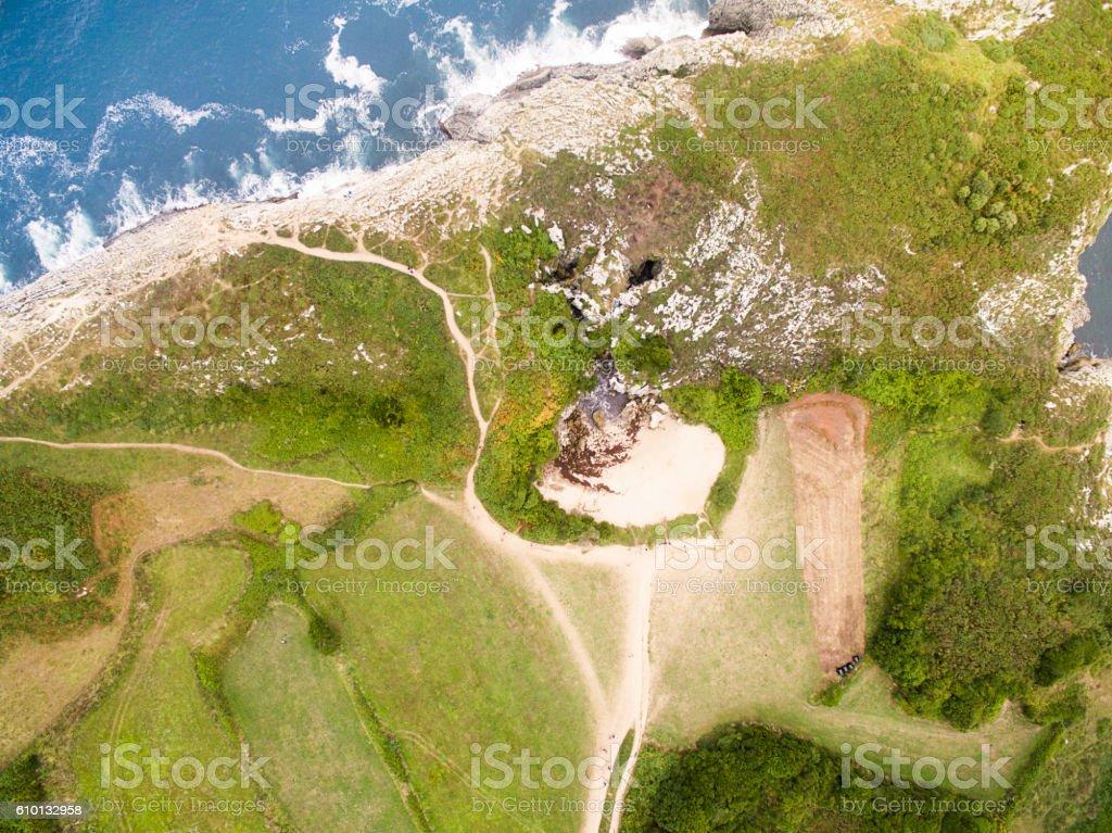 Aerial view of Asturias coastline stock photo