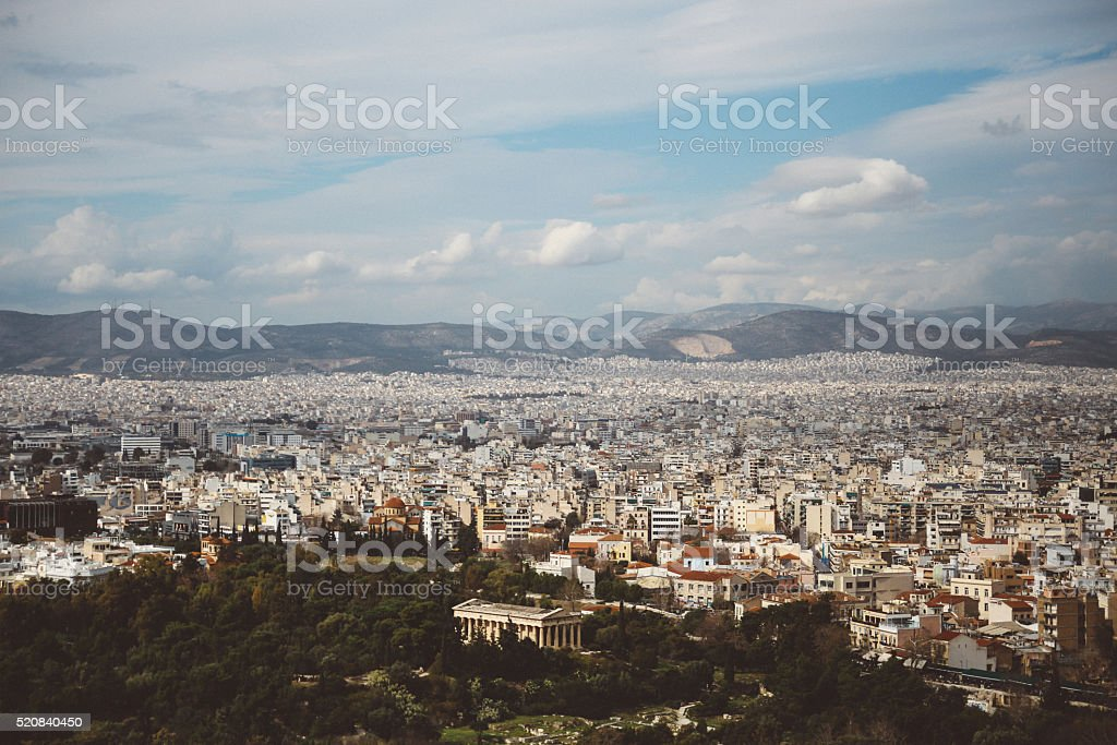 Aerial view of Athens, Greece landscape stock photo