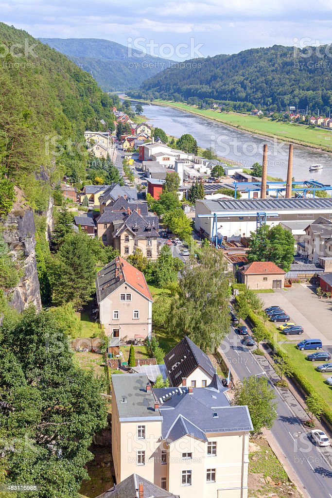 Aerial view of Bad Schandau, Germany. stock photo