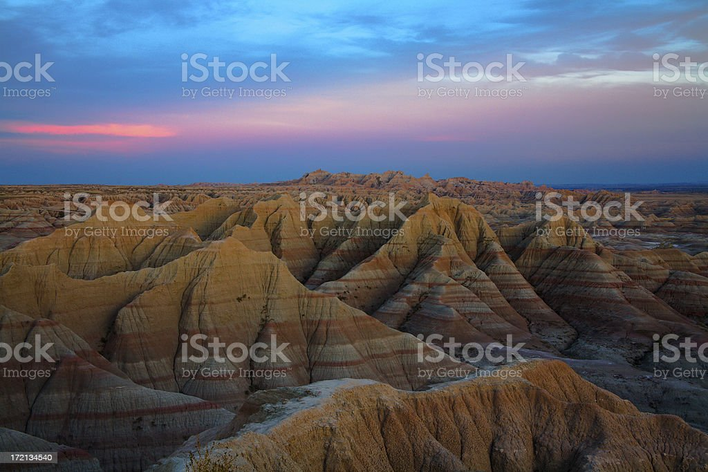Aerial view of Badlands National Park, South Dakota stock photo