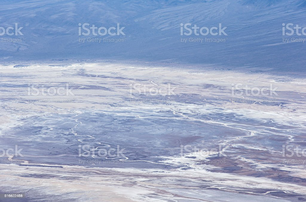 Aerial view of Badwater Basin in Death Valley stock photo