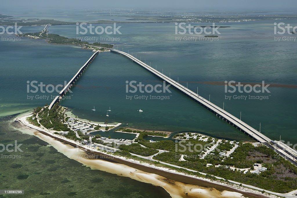 Aerial view of Bahia Honda Key stock photo