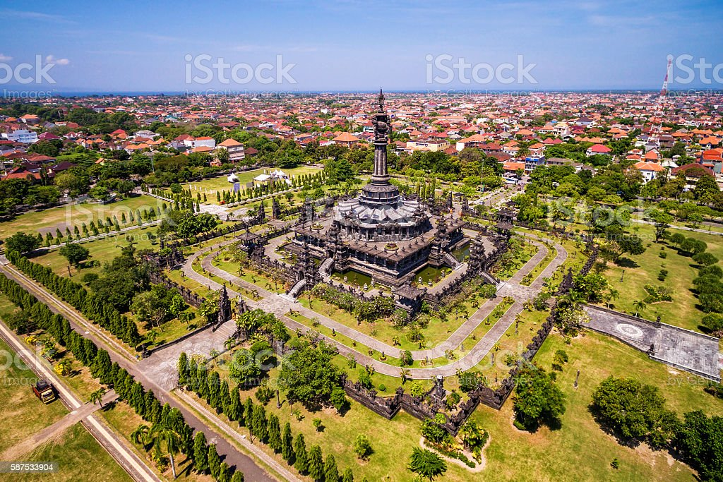 Aerial View of Bajra Sandhi Monument in Denpasar, Bali, Indonesia stock photo
