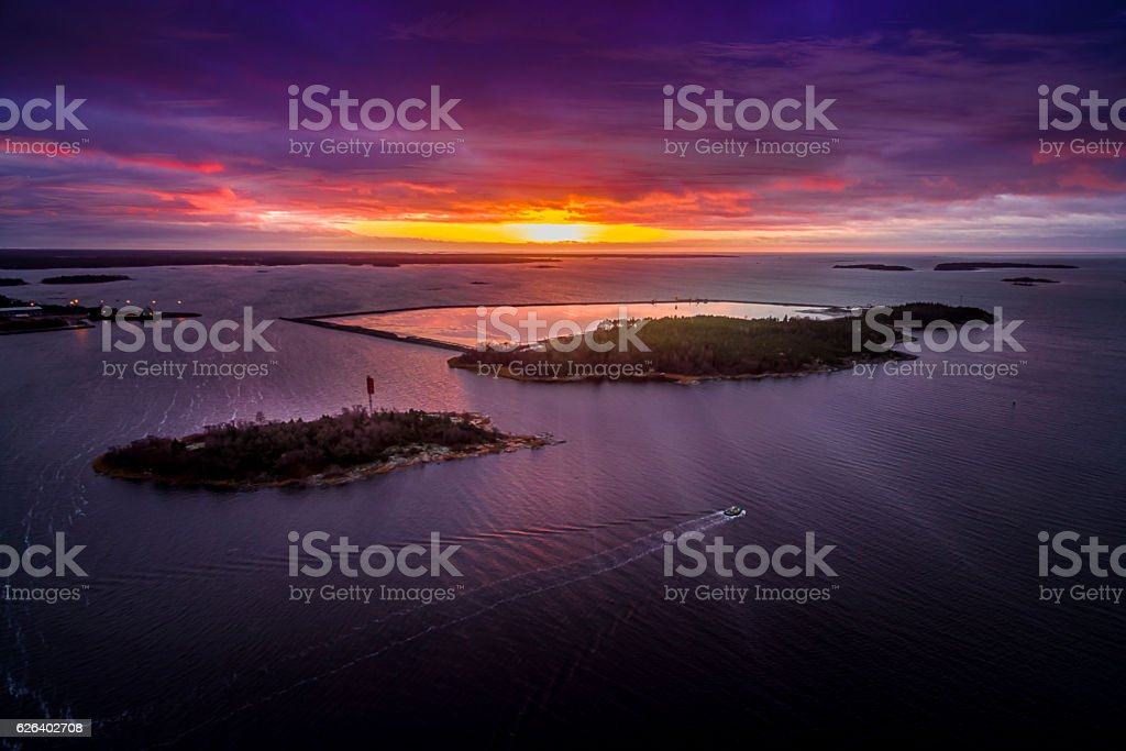Aerial view of Baltic Sea in Sunset stock photo