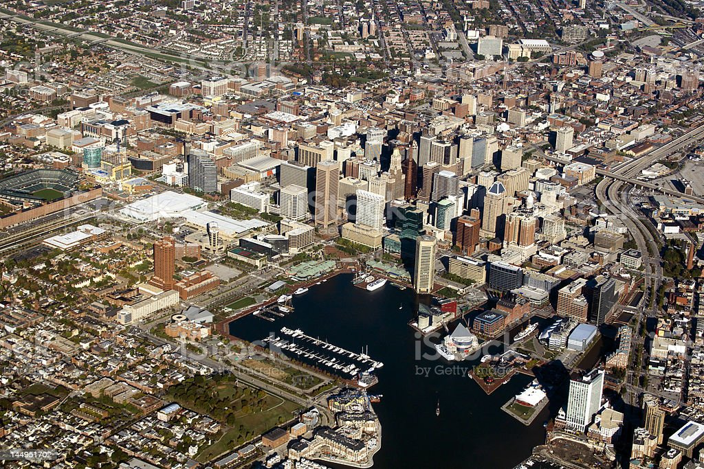 Aerial view of Baltimore city and harbor stock photo