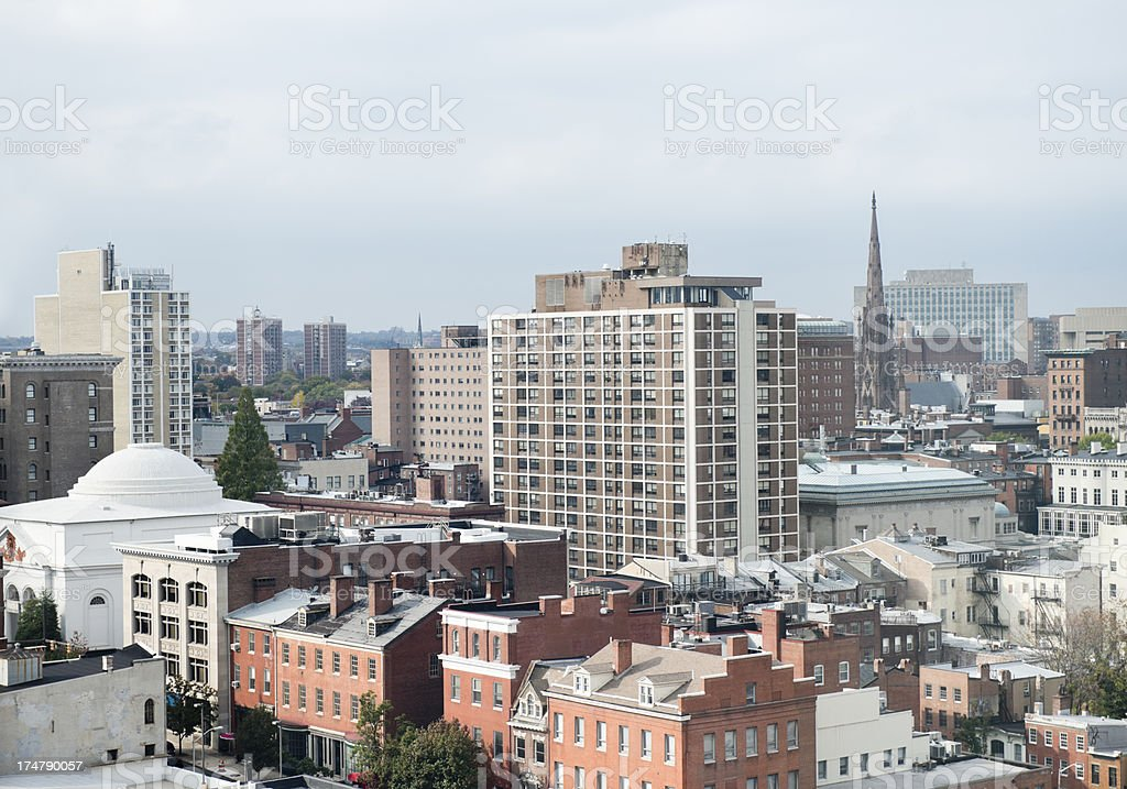 Aerial View of Baltimore City Maryland USA stock photo