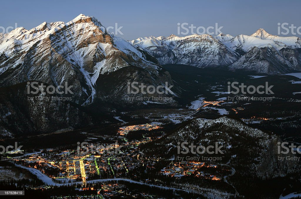Aerial View of Banff Alberta Canada in Winter royalty-free stock photo