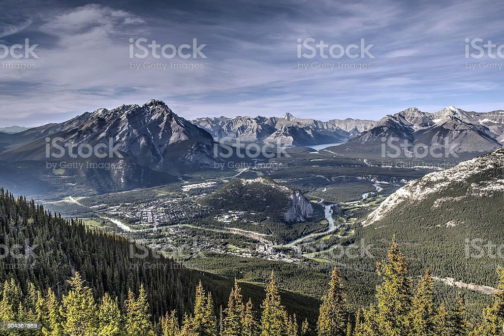 Aerial View of Banff from Atop Sulphur Mountain stock photo