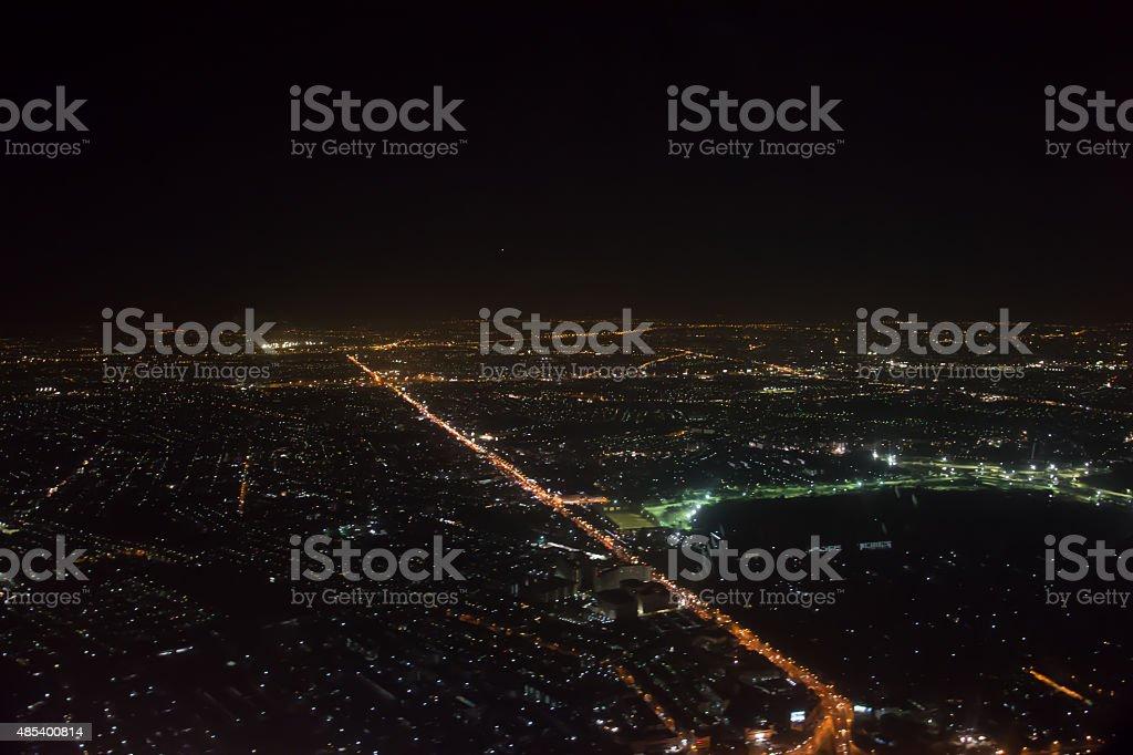 Aerial view of Bangkok at night stock photo