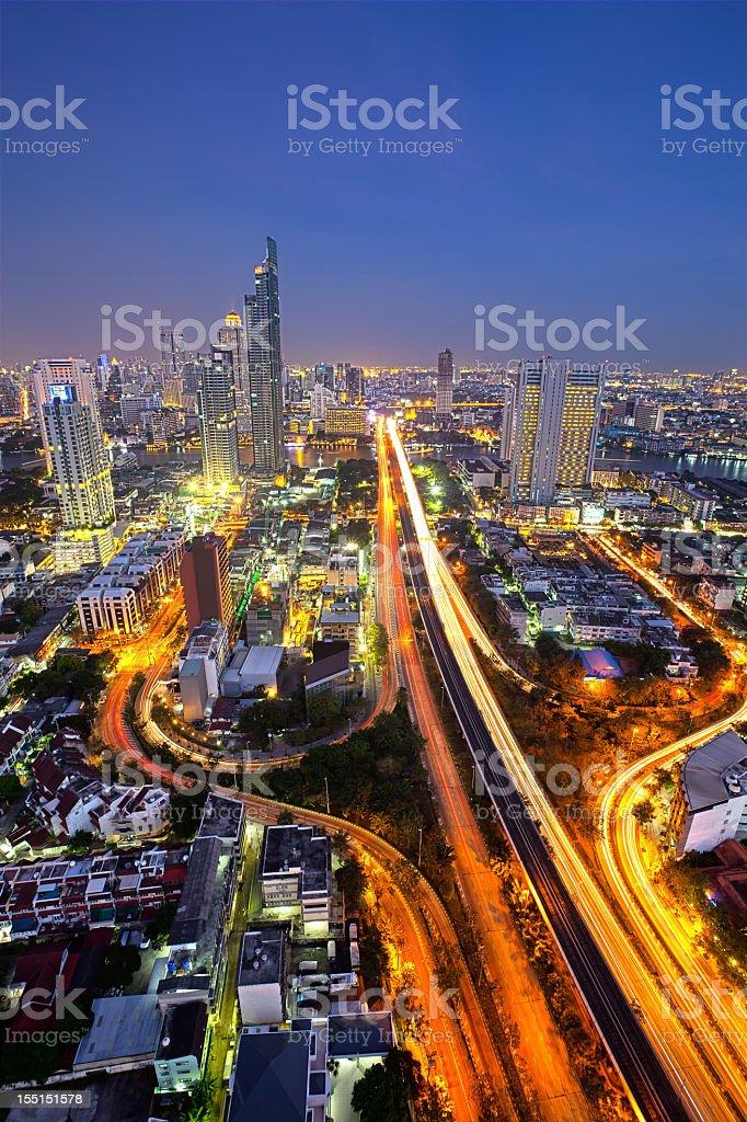 Aerial view of Bangkok city skyline at night stock photo