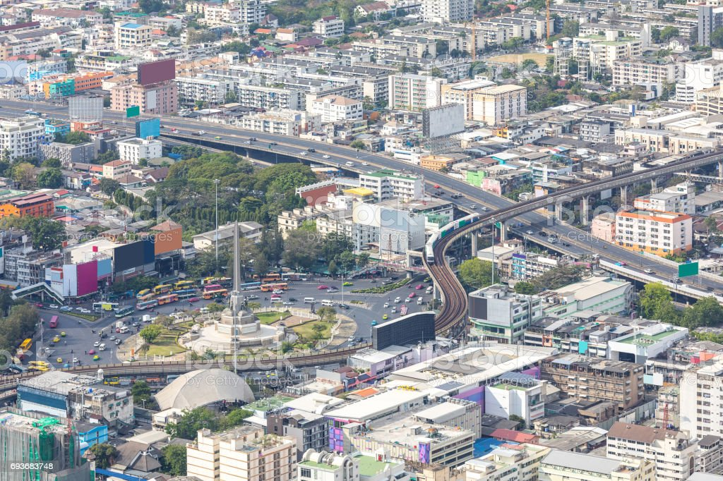 Aerial view of Bangkok cityscape skyline downtown Thailand stock photo