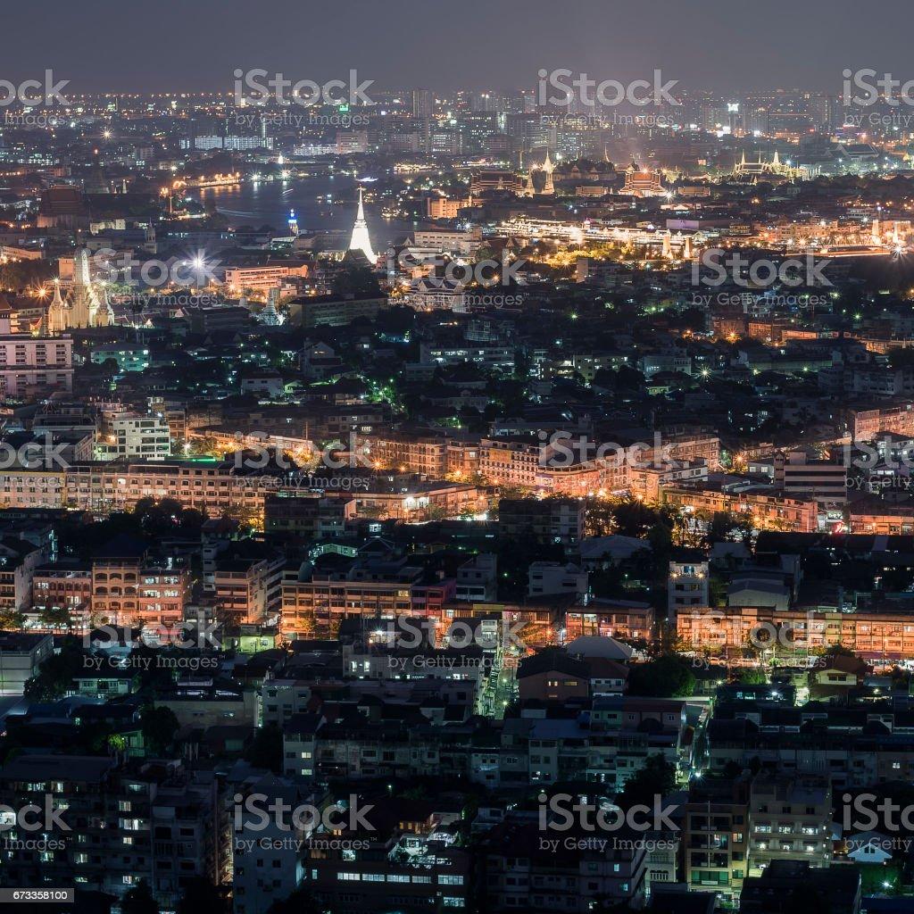 Aerial View of Bangkok from Thonburi District to Rattanakosin Island stock photo