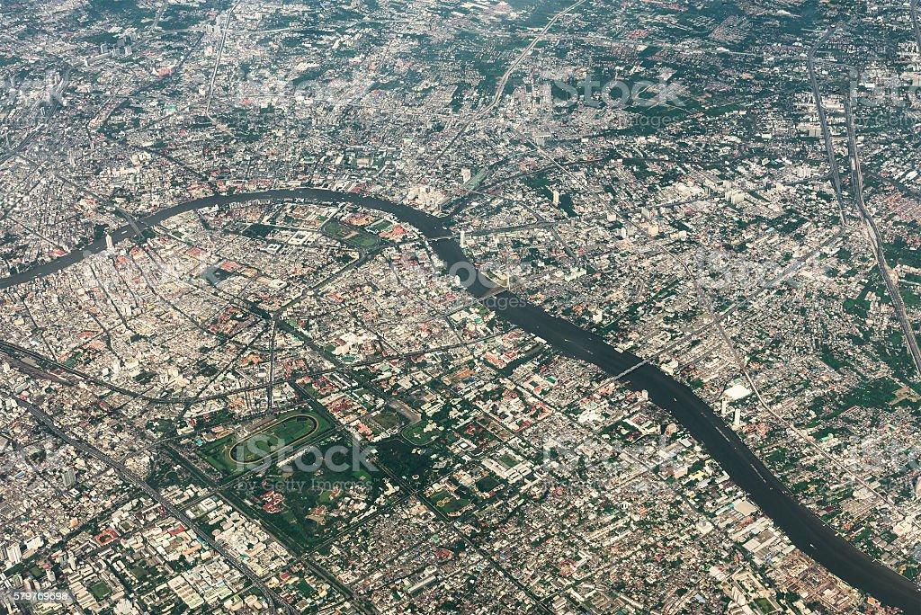 Aerial view of Bangkok metropolis and Chaophraya river. Thailand stock photo