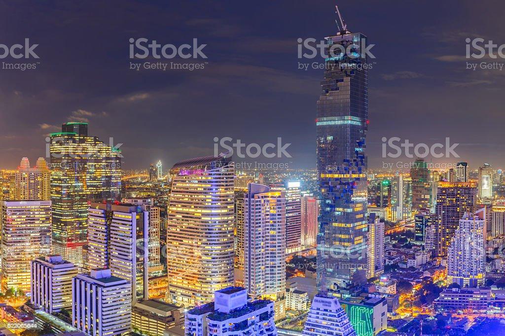 Aerial view of Bangkok modern office buildings stock photo