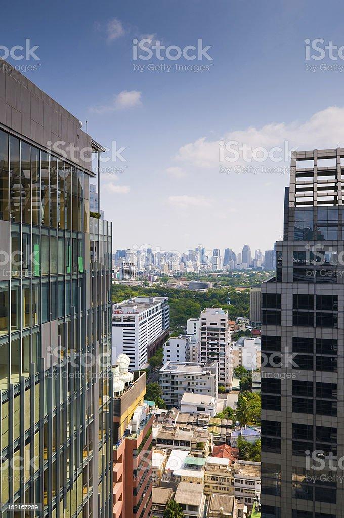 Aerial view of Bangkok Skyline royalty-free stock photo