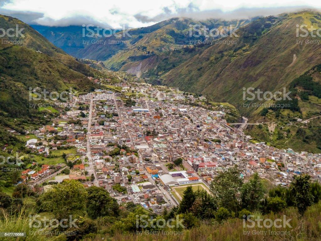 Aerial View of Banos Town, Ecuador stock photo