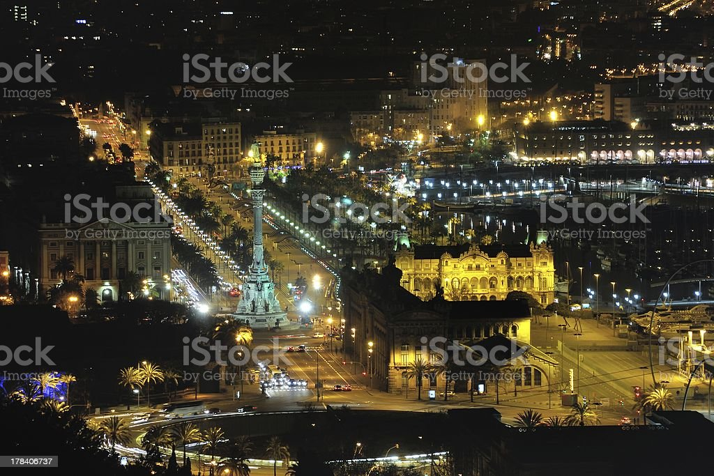 Aerial view of Barcelona at night stock photo