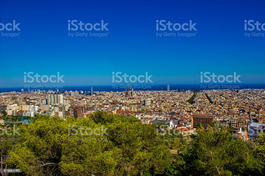 Aerial view of Barcelona city in Spain in summertime stock photo