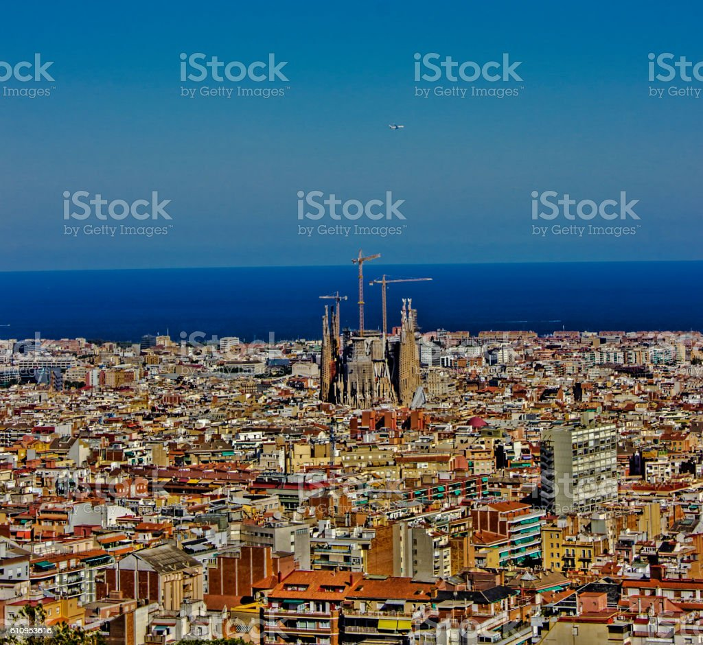 Aerial view of Barcelona cityscape in Spain in summertime stock photo