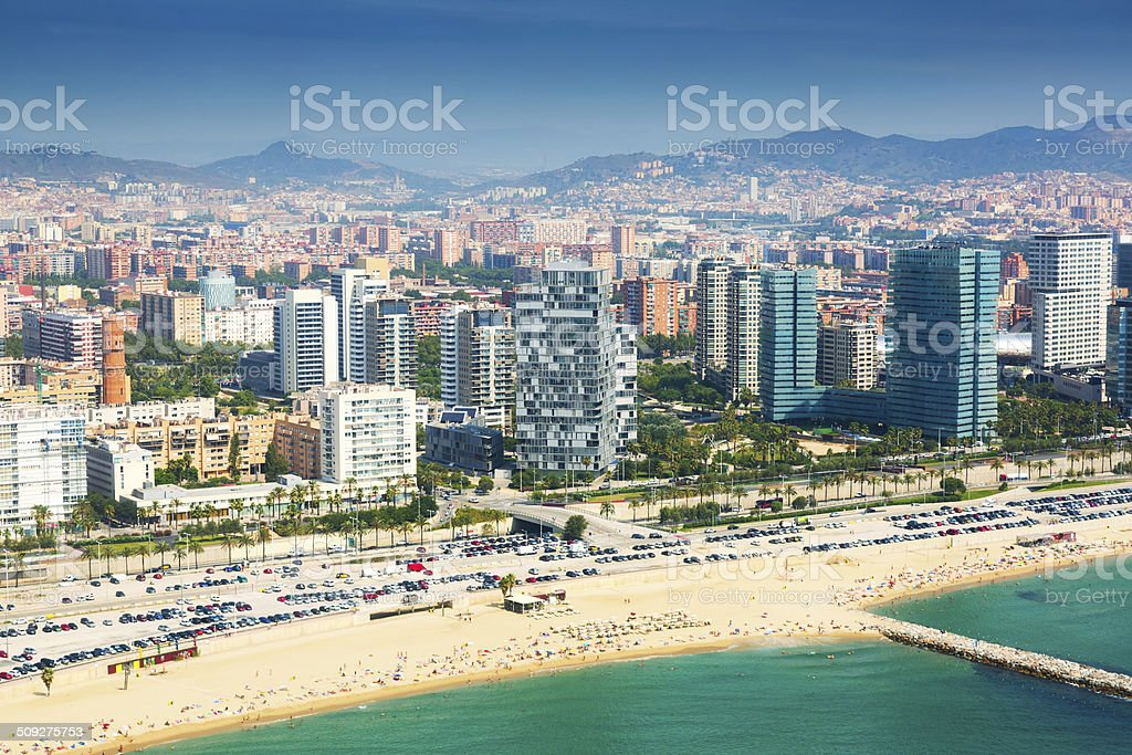 Aerial view of Barcelona from Mediterranean coast stock photo