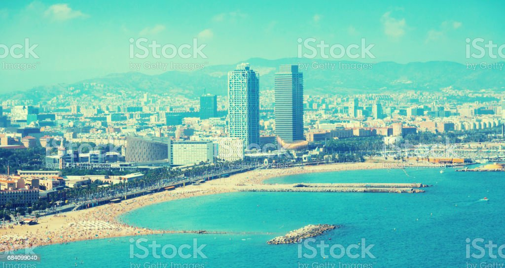 aerial view of Barcelona from Mediterranean stock photo