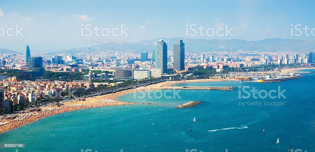 aerial view of Barcelona from  sea stock photo