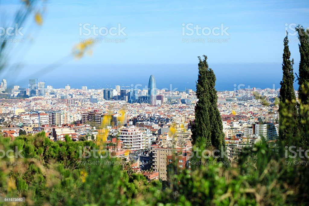 Aerial view of Barcelona stock photo