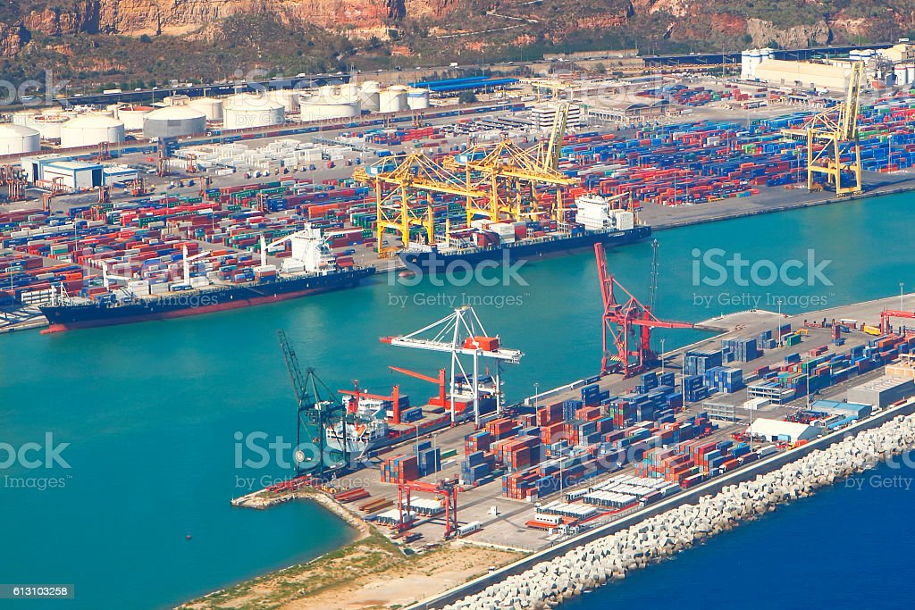 Aerial view of Barcelona Port stock photo